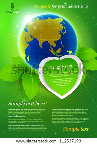 Template for advertising. Ecology - stock vector