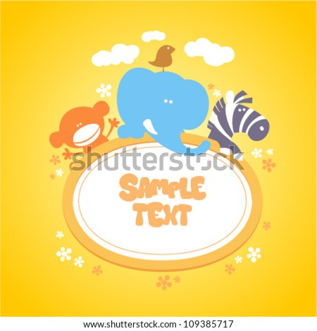 Template for baby's photo album, scrapbook or postcard. - stock vector
