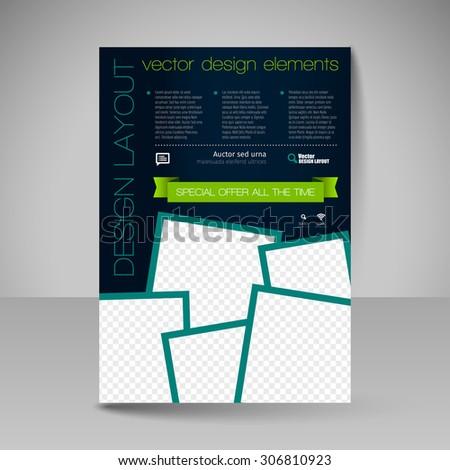 Template for brochure, flyer. Editable site for business, education, presentation, website, magazine cover. - stock vector