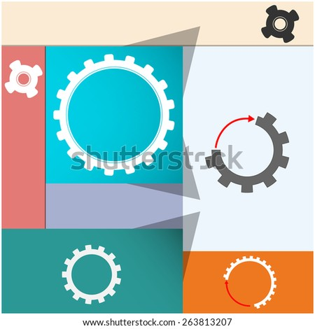 Template for creating infographics, consisting of colored rectangles with gears, grouped together - stock vector
