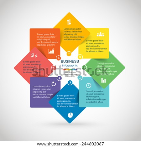 Template for diagram, graph, presentation and chart. Business concept with 8 options, parts, steps or processes. Abstract background.  - stock vector