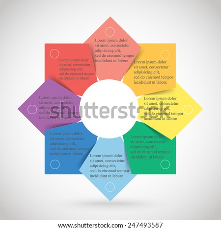 Template for diagram, graph, presentation and chart. Business concept with 8 options, parts, steps or processes.  - stock vector