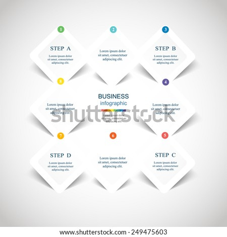 Template for diagram, graph, presentation and chart. Business concept with 8 options, parts, steps or processes. Vector infographic  - stock vector