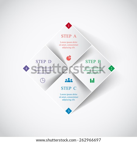 Template for diagram, graph, presentation and chart. Business concept with 4 options, parts, steps or processes. Vector infographic  - stock vector