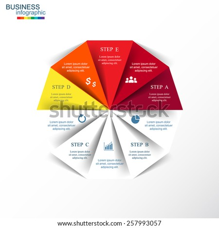 Template for diagram, graph, presentation and chart. Business concept with 10 or 5 options, parts, steps or processes. - stock vector