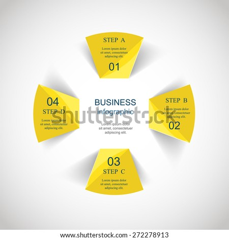 Template for diagram, graph, presentation and chart with 4 options, parts, steps or processes. Vector infographic  - stock vector
