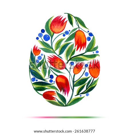 Template for Easter  greeting card or invitation. Happy Easter! Watercolor flower tulips egg - stock vector