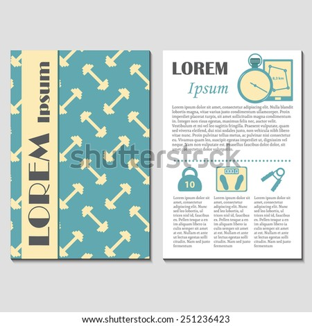 Template for gym card, flyer or booklet for your design - stock vector