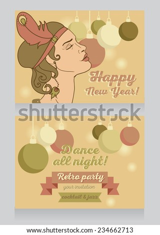 template for happy new year party invitation, retro style party invitation, vector illustration  - stock vector