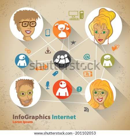 Template for infographic with Social Network - stock vector