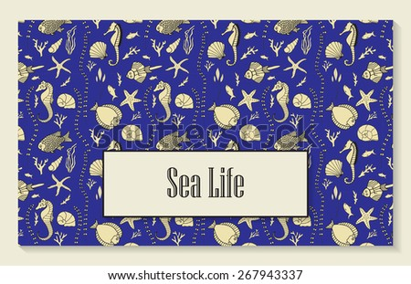 Template for menu, booklet or invitation with seamless pattern that includes hand drawn fishes, corrals, shells, seaweeds and sea-horses. - stock vector