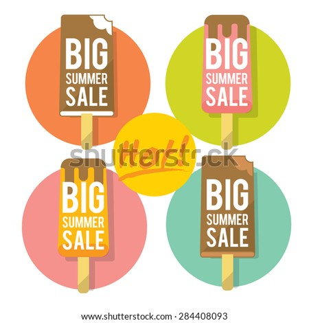 Template for summer sale with ice-cream. Refreshing in summertime. Prices are thawing. Flat layered modern vector illustration and design element.  - stock vector