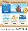 template for travel site with old ship and compass - stock vector