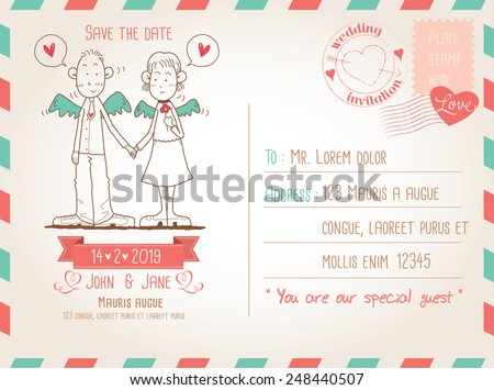 Template for wedding invitation on vintage postcard background  - stock vector