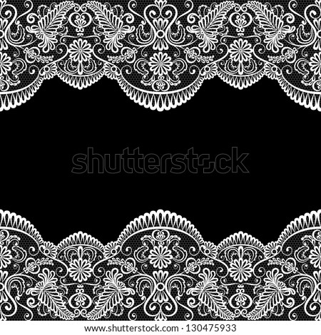 Template for wedding, invitation or greeting card with lace fabric background - stock vector