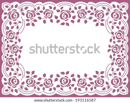Template frame  design for greeting card. Vintage Lace Doily - stock vector