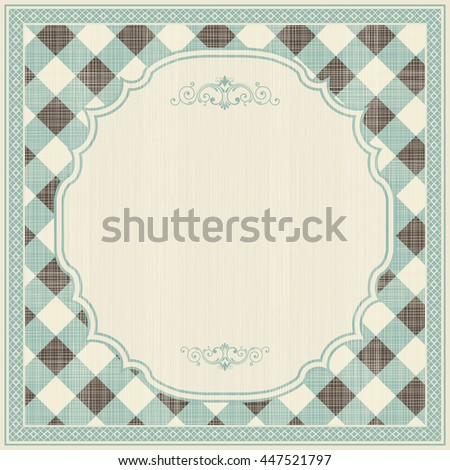 Template greeting card, invitation and advertising banner, brochure with space for text. Vintage invitation  card with checkered pattern and frame. Can be use for wedding, birthday, baby shower, menu  - stock vector