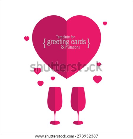 Template greeting card or invitation for holidays, anniversaries, parties, gala events. Love. - stock vector
