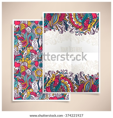 Template greeting card or invitation. Freehand drawing. Set - stock vector