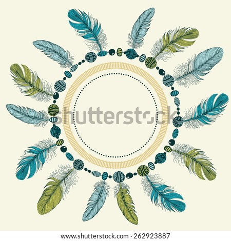 Template greeting card or invitation with feathers. - stock vector