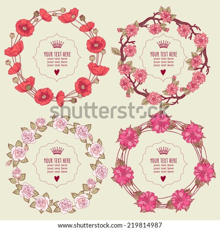 Template greeting card or invitation with flowers. Set - stock vector