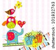 Template greeting card, vector scrap illustration - stock vector