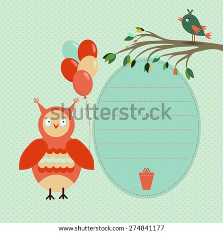 Template greeting card with bird, branch, balloon and owl on a spotted  background, vector illustration  - stock vector
