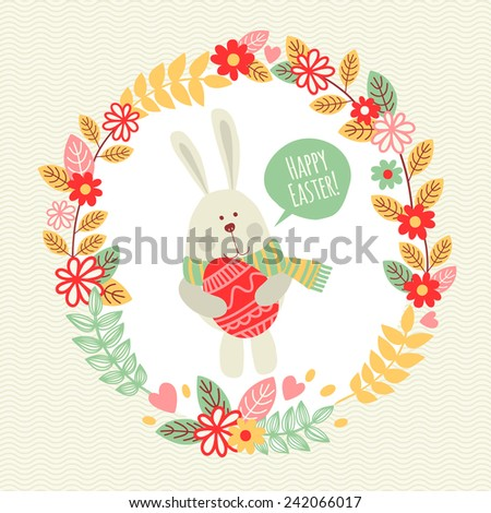 Template greeting card with rabbit. Happy Easter! - stock vector