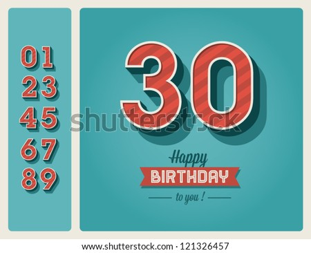 Template happy birthday card with number editable - stock vector