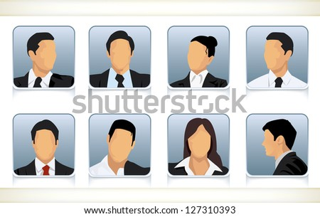 Template illustration of eight faceless or featureless head and shoulder portraits for male and female businesspeople in business attire - stock vector