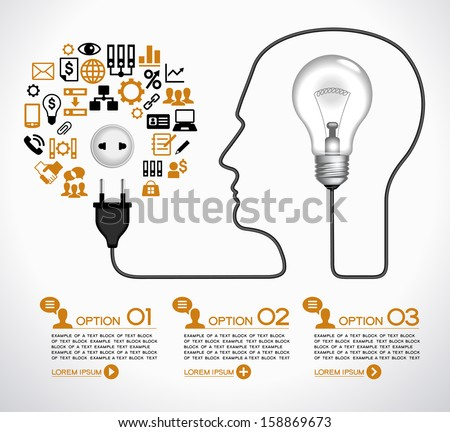 Template infographic. Cable with  plug and an lamp form a profile of the person. The lamp symbolizes the brain. Electrical plug is connected to an electrical outlet, surrounded by business icons.  - stock vector