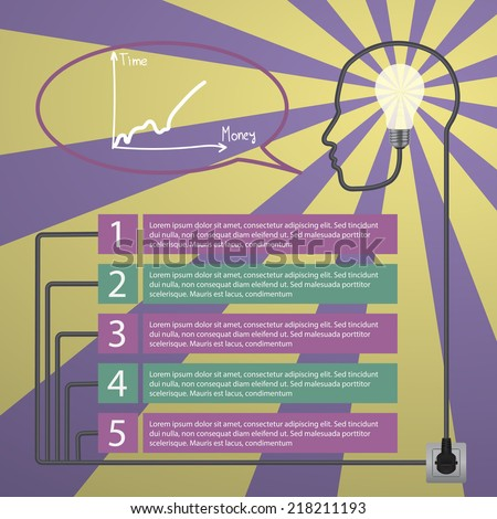 Template infographic. Concept of modern business. Human head with the brain, business icons, plug, socket - stock vector