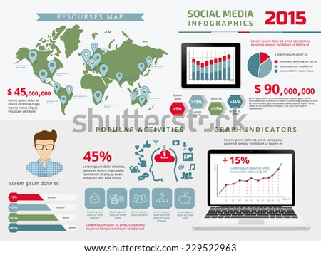 Template infographics elements for social media presentation with tablet pc and open laptop with chart. Contains world map with pins, contour icons for app, and diagram. Text outlined. - stock vector