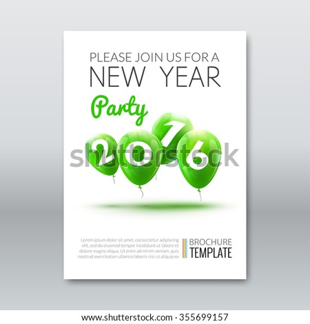 Template invitation new year holiday. Holiday card dedicated to the Christmas and New Year 2016. 3D balloons, Green colors, on a white background. Vector illustration - stock vector