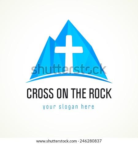 Template logo for a Christian organization in the form of a cross on the rock. Cross on the rock logo - stock vector