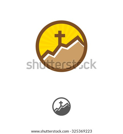 Template logo for churches and Christian organizations cross of Calvary in the sun. Calvary cross church logo. Cross on the mountain - stock vector