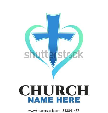 Template logo for churches and Christian organizations cross on the heart. Cross on the heart church logo.- vector illustrator  - stock vector