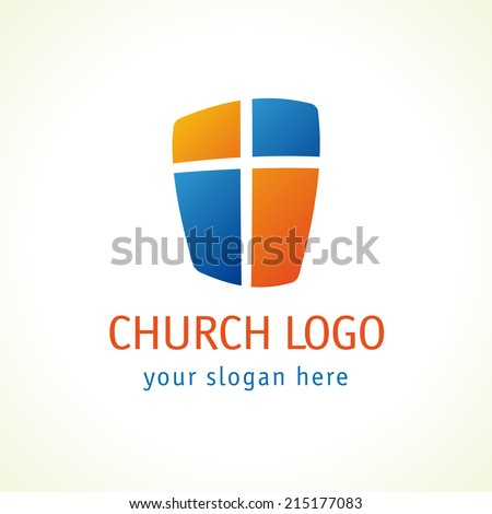 Template logo for churches and Christian organizations cross on the shield. Cross on the shield church logo. - stock vector