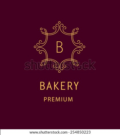 Template logo for the bakery. Monogram. Vintage style. - stock vector