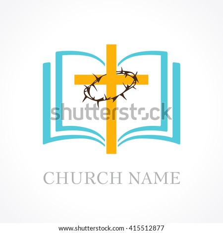Template logo for the church in the form of a cross and a crown of thorns and open bible. Cross bible church logo - stock vector