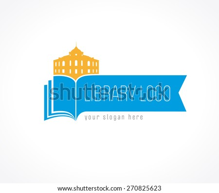 Template logo for the library or bookstore as a bookmark books library building. Library logo bookmark - stock vector
