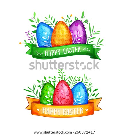 Template logo, icon, decorative element for a happy Easter. Set of colored eggs with ribbons. Happy Easter text. Vector. - stock vector