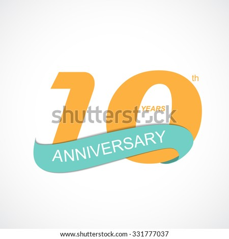 Template Logo 10th Anniversary Vector Illustration EPS10 - stock vector