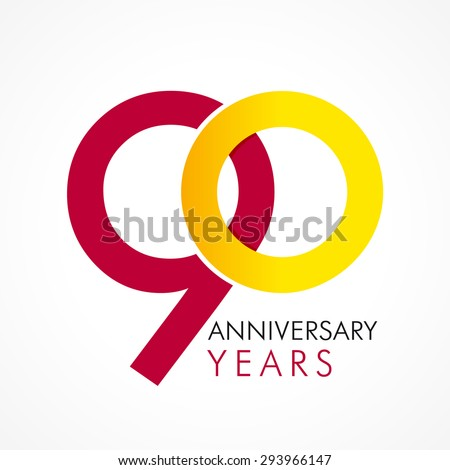 Template logo 90th anniversary with a circle in the form of a graph and the number 9. 90 circle anniversary logo - stock vector
