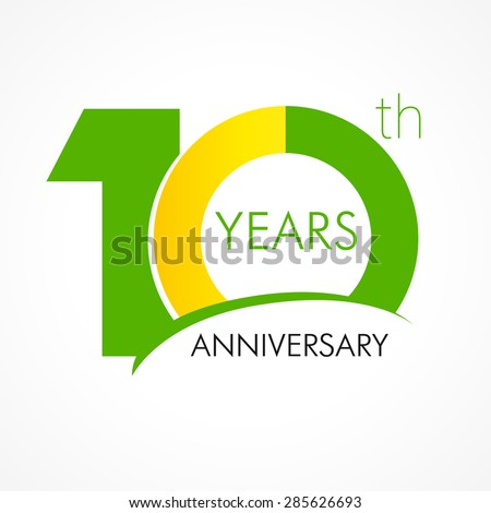 Template logo 10th anniversary with a circle in the form of a graph and the number 1. 10 years anniversary logo - stock vector
