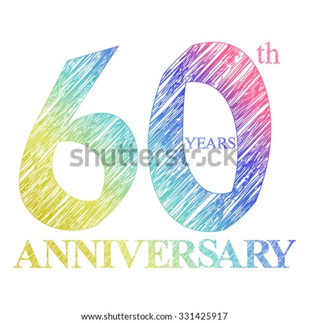 template logo with a circle for anniversary. 60 - stock vector