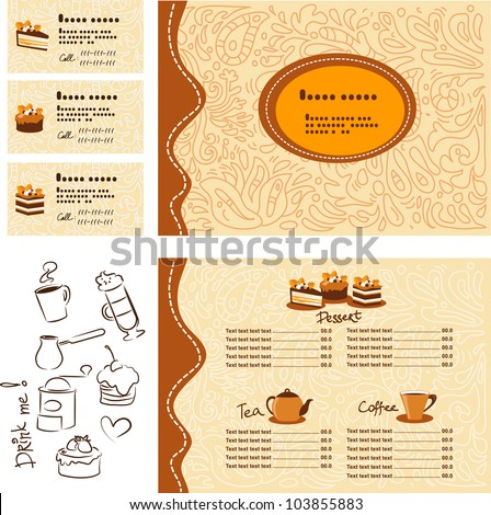 Template menu and business card for cafe and restaurant - stock vector