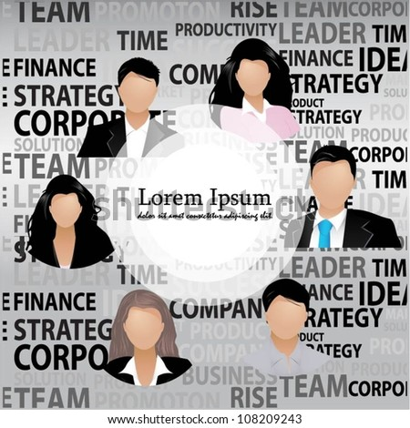 Template of a group of business and office people. Vector - stock vector