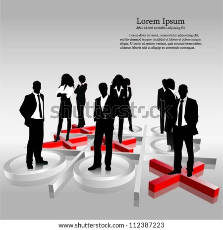 Template of a group of business and office people with 3d tic tac toe. Vector illustration. - stock vector