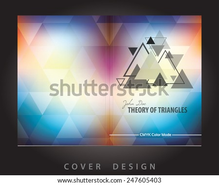 Template of abstract brochure cover design with triangles pattern. CMYK color mode. Bleeds into Clipping mask. Vector - stock vector
